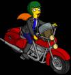 Минди катается на мотоцикле
