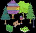 Скамейки (2), фонари (2), кусты (8) и деревья (12)